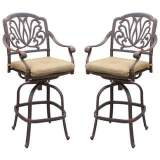 Darlee Elisabeth Antique Black Aluminum Cushioned Chair (Set of 2)