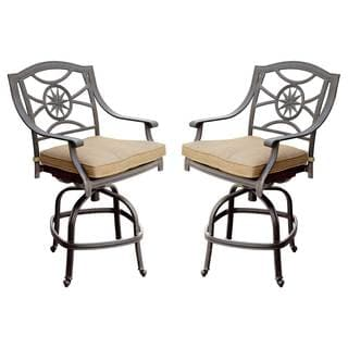 Darlee Black Cast Aluminum/Polyester Cushioned 10-Star Patio Chair (Set of 2)