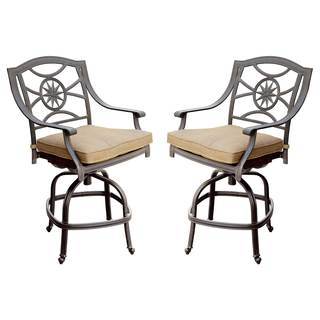 Darlee Black Cast Aluminum/Polyester Cushioned 10-Star Patio Chair (Set of 2) - Antique Bronze