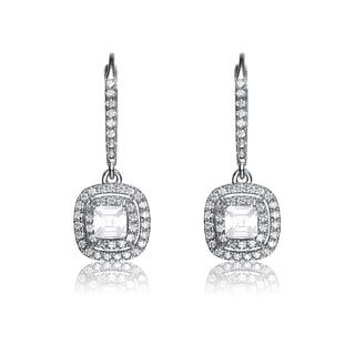 Collette Z Sterling Silver Cubic Zirconia Double Row Dangle Earrings