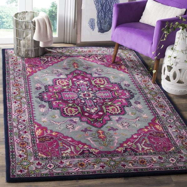 Safavieh Bellagio Handmade Bohemian Grey/ Pink Wool Rug - 2'6 x 4'