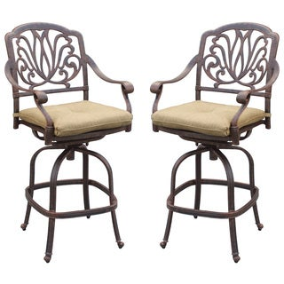Elisabeth Antique Black Aluminum Floral-patterned Cushioned Chairs (Set of 2)