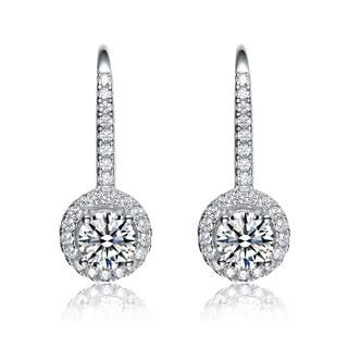 Collette Z Sterling Silver Cubic Zirconia Round Dangle Earrings