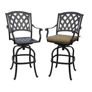 Ocean View Antique Black Aluminum Cushioned Swivel Chairs (Set of 2)