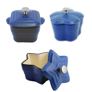 BergHOFF Blue Ceramic/ Cast Iron 6-piece Mini Casserole Assorted Dish Set