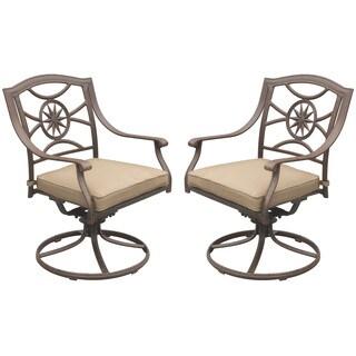 Darlee Ten Star Sesame Aluminum Outdoor Dining Chair (Set of 2)