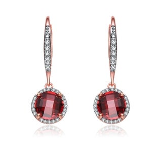 Collette Z Gold Overlay Burgundy Cubic Zirconia Drop Earrings