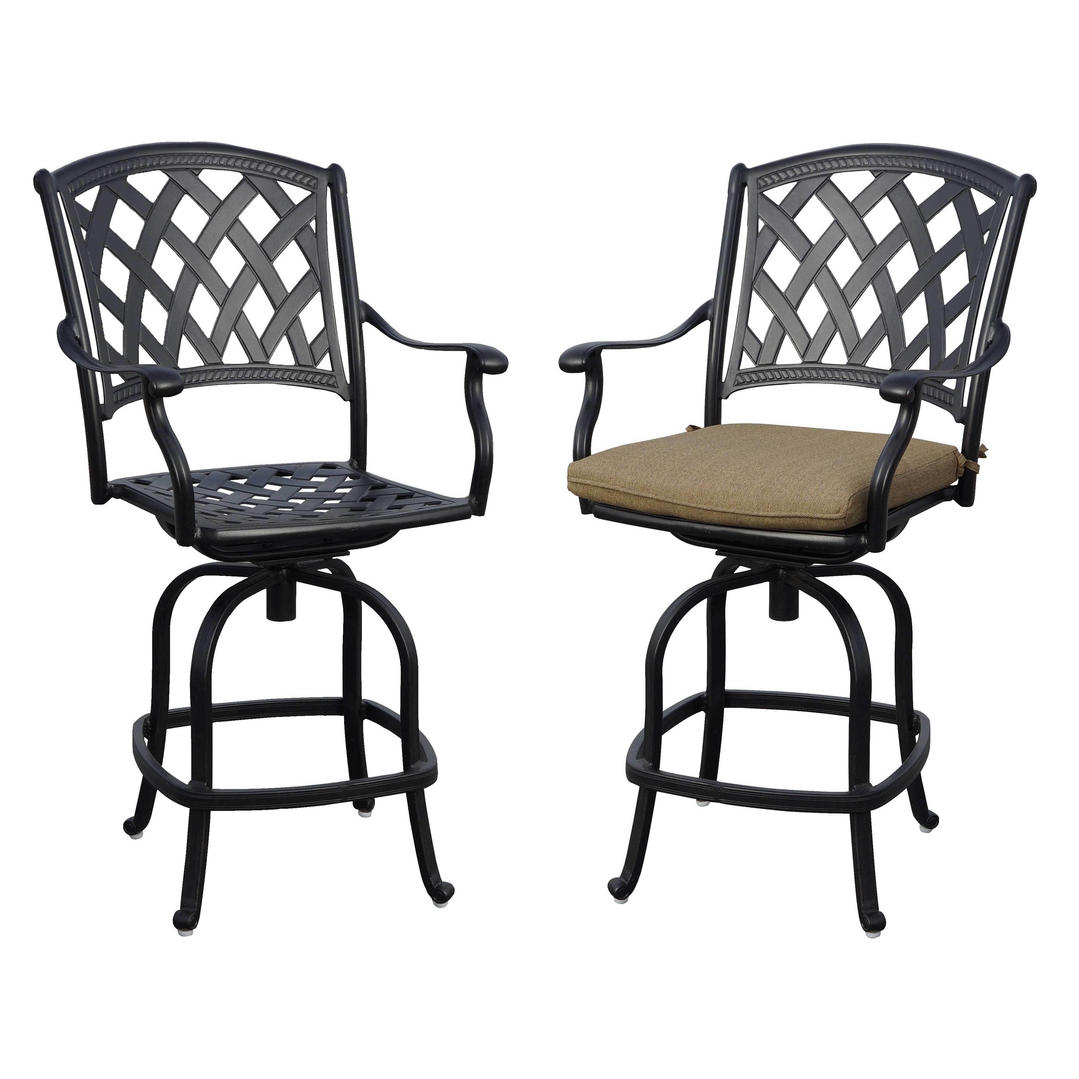 Pleasant Ocean View Black Powder Coated Aluminum Counter Height Swivel Bar Stools With Seat Cushions Antique Bronze Spiritservingveterans Wood Chair Design Ideas Spiritservingveteransorg