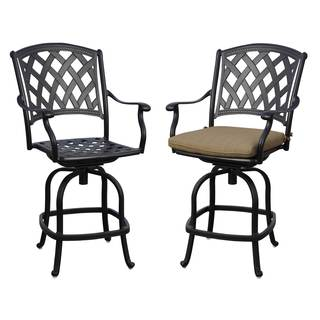 Ocean View Black Powder-coated Aluminum Bar Stools