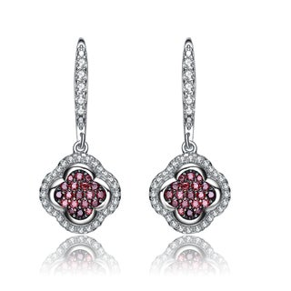 Collette Z Sterling Silver Burgundy Cubic Zirconia Clover Earrings