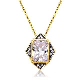 Collette Z Gold Overlay Cubic Zirconia Checker Necklace