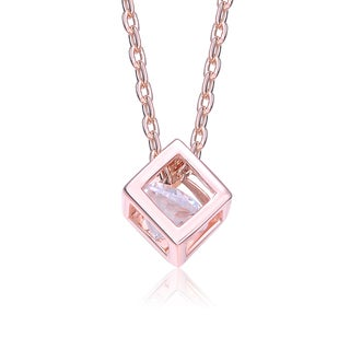 Collette Z Rose Gold Overlay Cubic Zirconia Cube Necklace