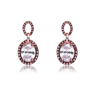 Collette Z Rose Gold Overlay Cubic Zirconia Oval Drop Earrings
