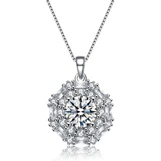 Collette Z Sterling Silver Cubic Zirconia Snowflake Necklace
