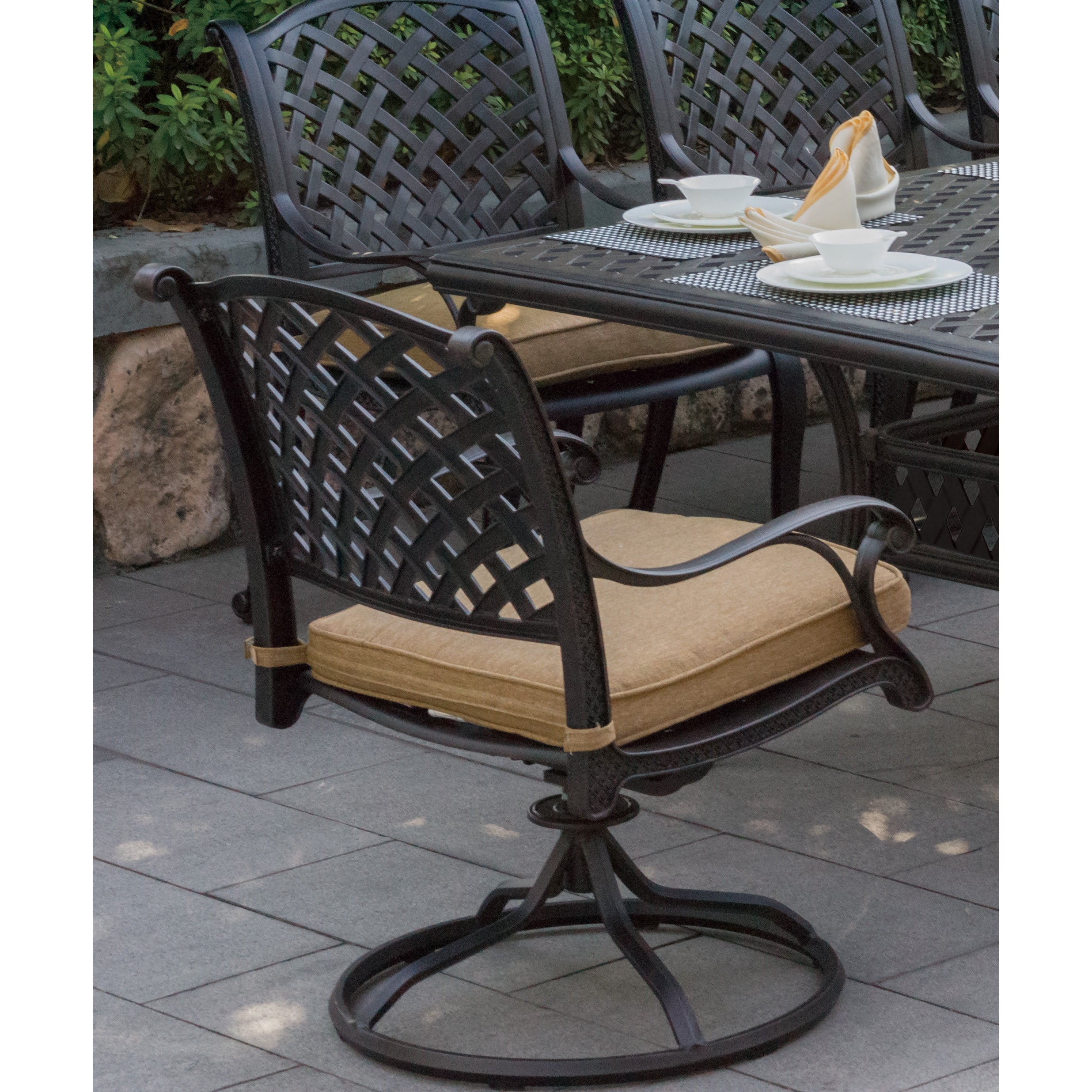 Nassau Swivel Patio Dining Chairs (Set of 2) (Antique Bro...