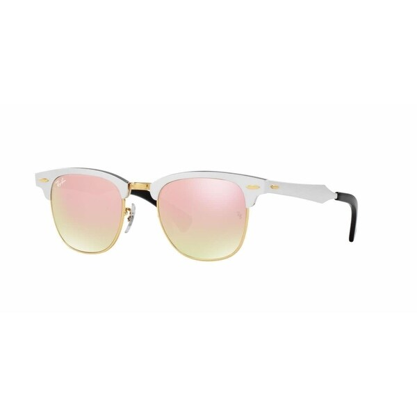 d981bd417c7 Ray Ban Women RB3507 CLUBMASTER ALUMINUM 137 7O Silver Metal Square  Sunglasses