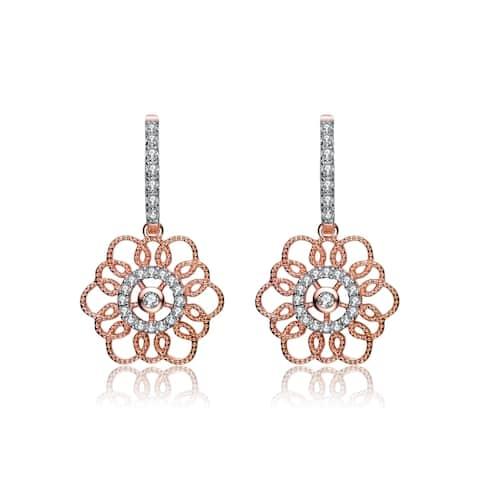 Collette Z Rose Gold Overlay Cubic Zirconia Flower Earrings - White