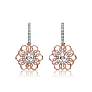Collette Z Rose Gold Overlay Cubic Zirconia Flower Earrings