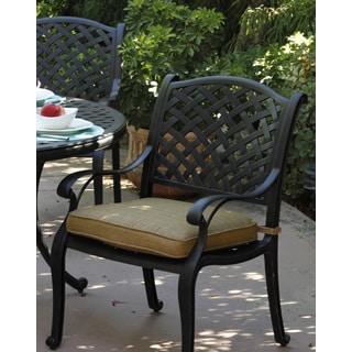Nassau Antique Black Powder-coated Aluminum Cushioned Chair (Set of 4)