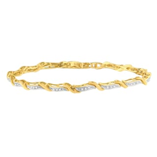 10k Yellow Gold 0.25ct TDW Round Cut Diamond Bracelet (H-I, SI1-SI2)