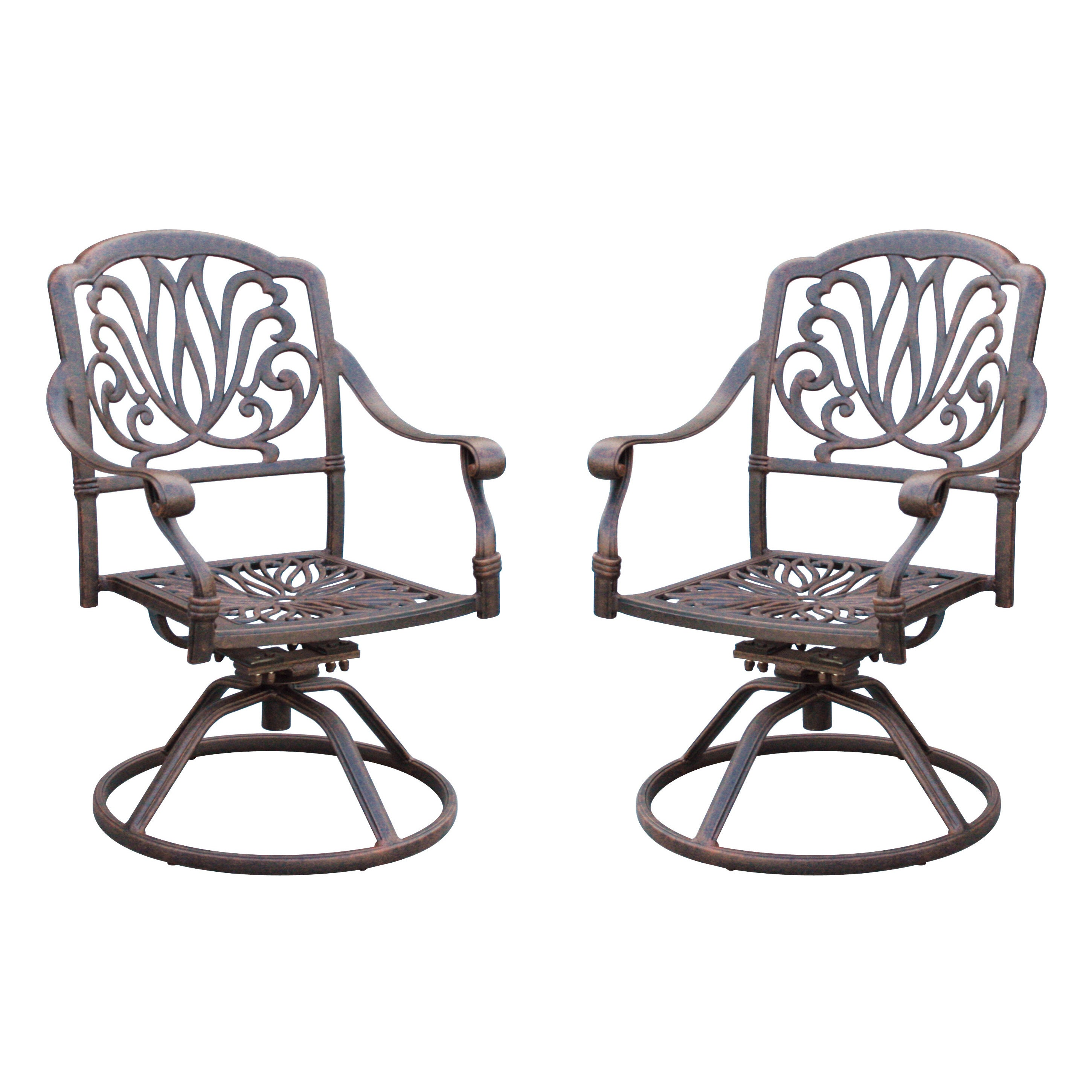 Darlee Elisabeth Cast Aluminum Swivel Rocker Dining Chair With Seat Cushion Set Of 2 Antique Bronze Finish Free Shipping On Orders Over 45