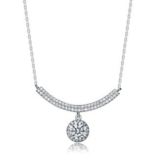 Collette Z Sterling Silver Cubic Zirconia Circle Pendant Necklace