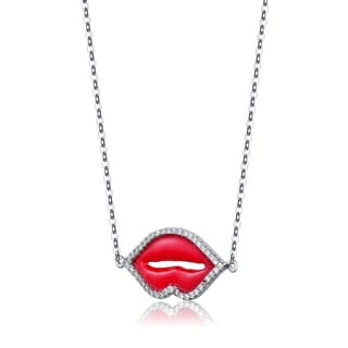 Collette Z Sterling Silver Cubic Zirconia Lip Necklace