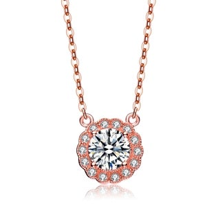 Collette Z Rose Gold Overlay Cubic Zirconia Lace Necklace White