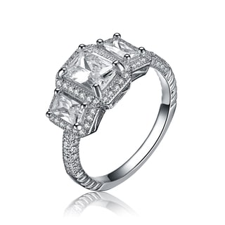 Collette Z Sterling Silver Emerald Cut Cubic Zirconia Ring White