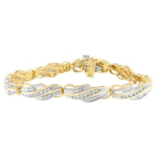 10K Yellow Gold 2 ct. TDW Round and Baguette Cut Diamond Bracelet (I-J, I2-I3)