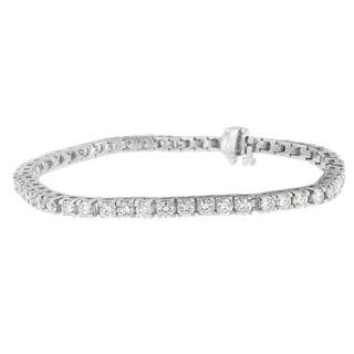 14K White Gold 5.75ct TDW Round Cut Diamond Tennis Bracelet (H-I, SI2-I1)