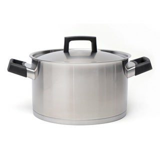 BergHOFF Ron 18/10 Silver and Black Stainless Steel 9.5-inch 6.8-quart Covered Stockpot