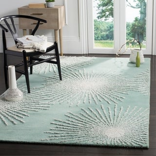 Safavieh Soho Handmade Contemporary Burst Light Teal/ Multi Wool Rug (6' x 9')