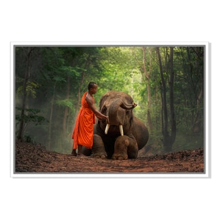 Monk with elephants