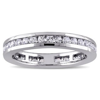 Miadora 10k White Gold Created White Sapphire Channel Set Full-Eternity Band