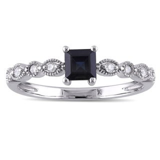 Miadora 10k White Gold 1/10ct TDW Diamond and Princess-Cut Black Sapphire Studded Infinity Engagement Ring (G-H, I2-I3)