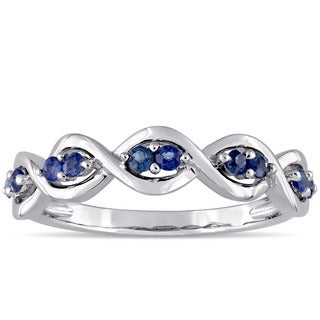Miadora 14k White Gold Sapphire Studded Infinity Promise Ring