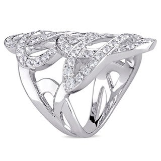 Miadora Signature Collection Stainless Steel Cubic Zirconia Interlaced Statement Ring