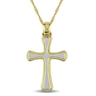 Miadora 2-Tone 18k White and Yellow Gold Religious Cross Necklace