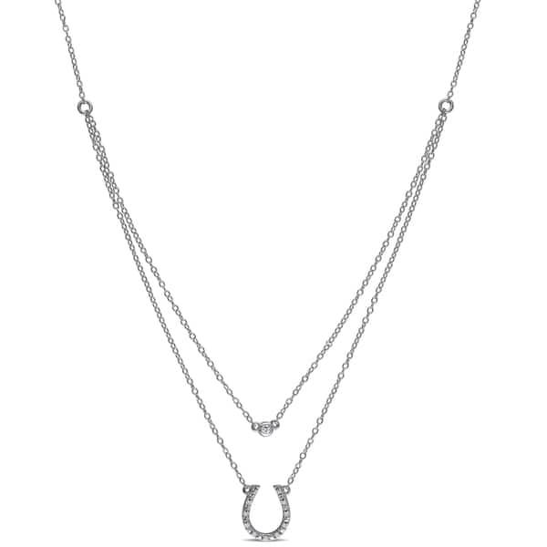 e35d80290cfe8 Shop Miadora Sterling Silver Diamond Accent and White Topaz ...