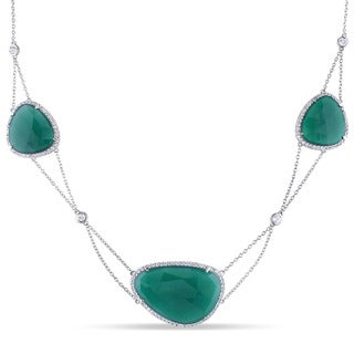 Miadora Sterling Silver Rose-Cut Green Onyx and White Topaz Tiered Station Necklace