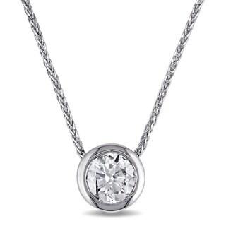 Miadora Signature Collection 14k White Gold 5/8ct TDW Bezel-Set Diamond Halo Necklace (F-G, I1-I2)