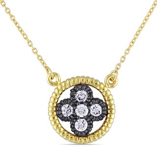 Miadora Yellow and Black Rhodium Plated Sterling Silver Cubic Zirconia Floral Halo Necklace