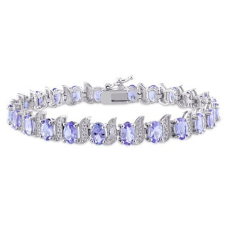 Miadora Sterling Silver Oval-Cut Tanzanite and Diamond Accent S-Style Tennis Bracelet