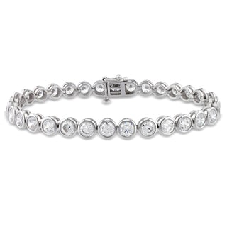 Miadora Sterling Silver Cubic Zirconia Beaded Tennis Bracelet