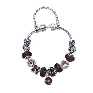 Silver-tone Brass Designer Inspired Beaded Charm Bracelet