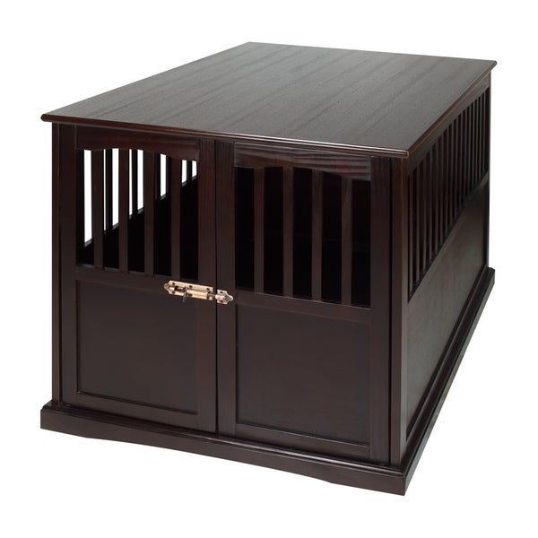 Wooden Extra Large Espresso Pet Crate End Table   Free Shipping Today    Overstock.com   20030476