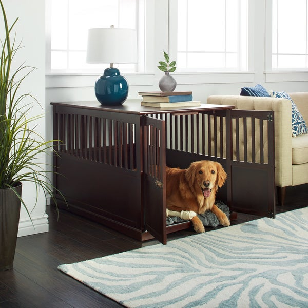 cool end table dog crate furniture | Wooden Furniture Extra Large Pet Crate Espresso Solid Wood ...
