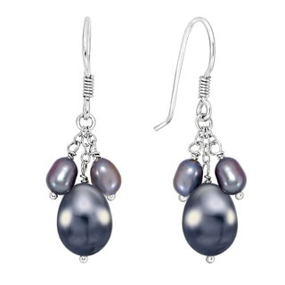 DaVonna Sterling Silver 4-7.5mm Black Freshwater Pearl Hangy Earrings