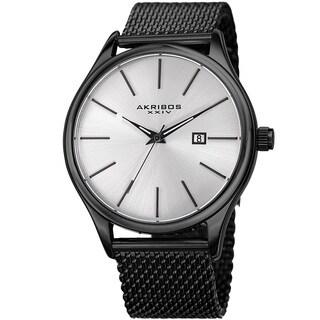 Akribos XXIV Men's Quartz Date Stainless Steel Mesh Black Bracelet Watch